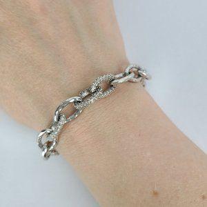 Stella & Dot Silver Rhinestone Chain Link Bracelet